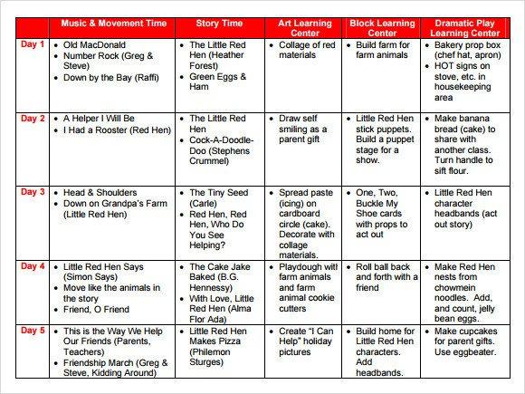 Preschool Lesson Plans Template Sample Preschool Lesson Plan 10 Pdf Word formats