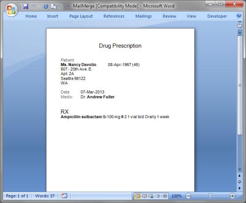 Prescription Template Microsoft Word Print or Export Prescriptions