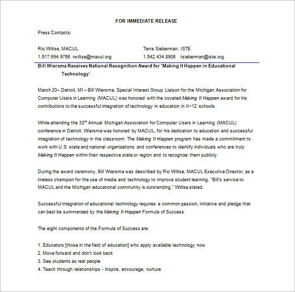 Press Release Template Word 28 Press Release Template Word Excel Pdf