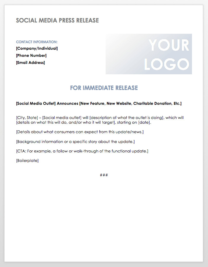 Press Release Template Word Free Press Release Templates
