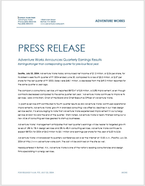 Press Release Template Word Press Release Template 15 Free Samples Ms Word Docs