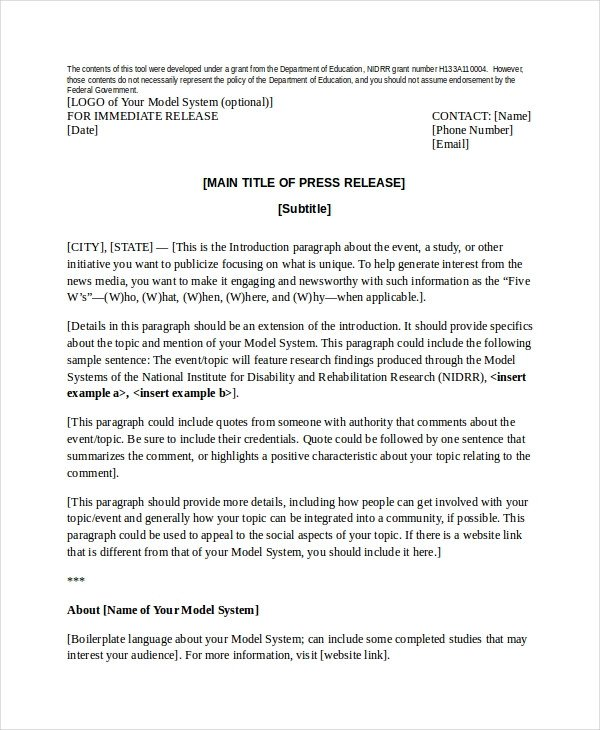 Press Release Template Word Press Release Template 21 Free Word Pdf Document