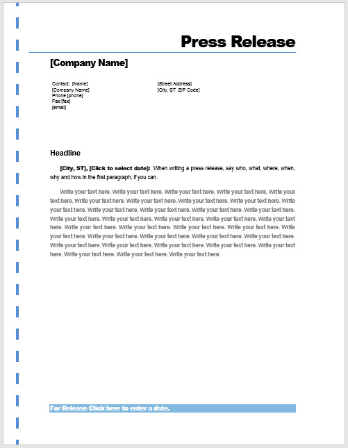 Press Release Template Word Press Release Template – Microsoft Word Templates