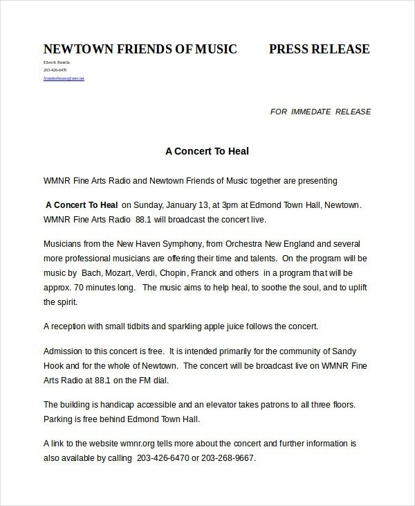 Press Release Template Word Press Release Template