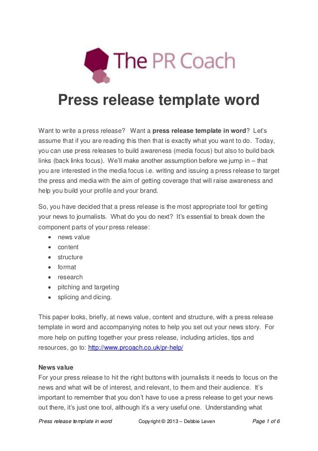 Press Release Template Word Press Release Template Word