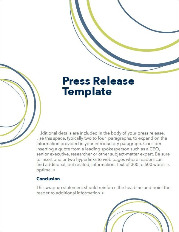Sample Press Release Templates 7 Free Documents