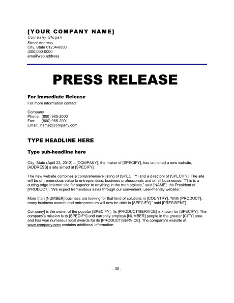 6 Press Release Templates Excel PDF Formats