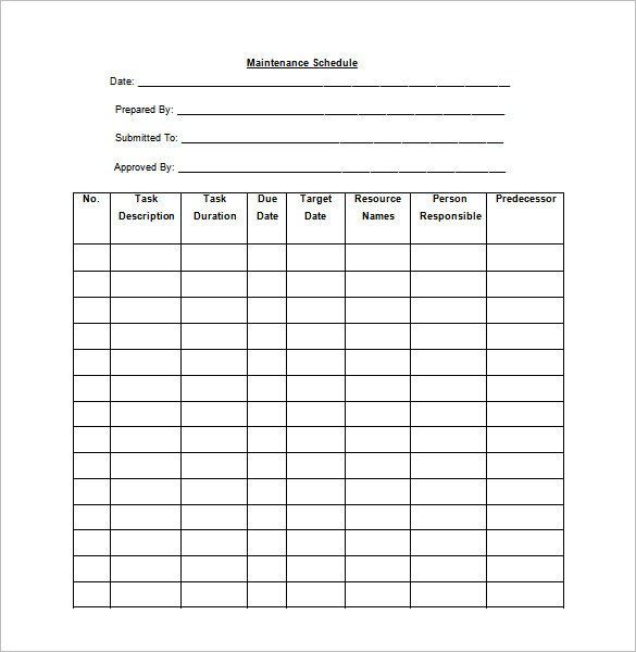 Preventive Maintenance Schedule Template Excel 39 Preventive Maintenance Schedule Templates Word