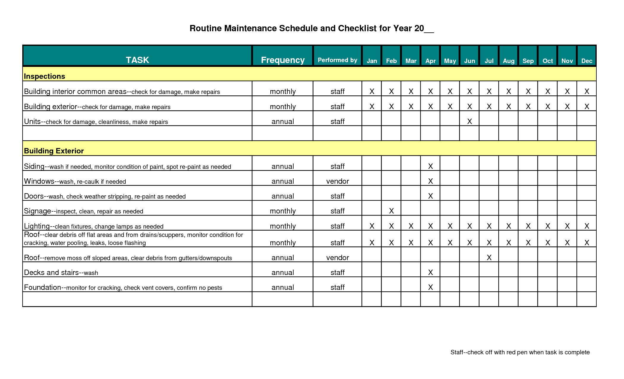 Preventive Maintenance Schedule Template Excel Building Maintenance Schedule Excel Template