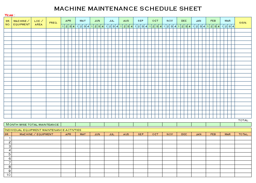 Preventive Maintenance Schedule Template Excel Machinery Maintenance Schedule Template Excel
