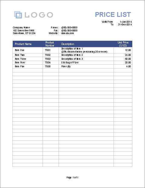 Printable Price List Template for Excel