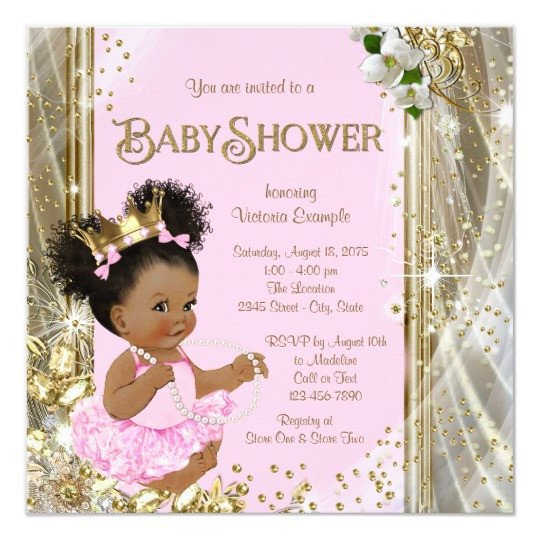 Princess Baby Shower Invitations Templates African American Princess Baby Shower Invitations