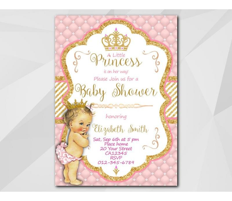 Princess Baby Shower Invitations Templates Custom Little Princess Baby Shower Invitation
