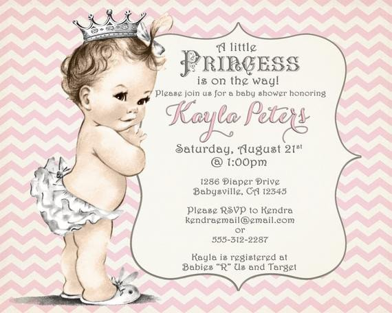 Princess Baby Shower Invitations Templates Girl Baby Shower Invitation Chevron Princess for Girl Pink