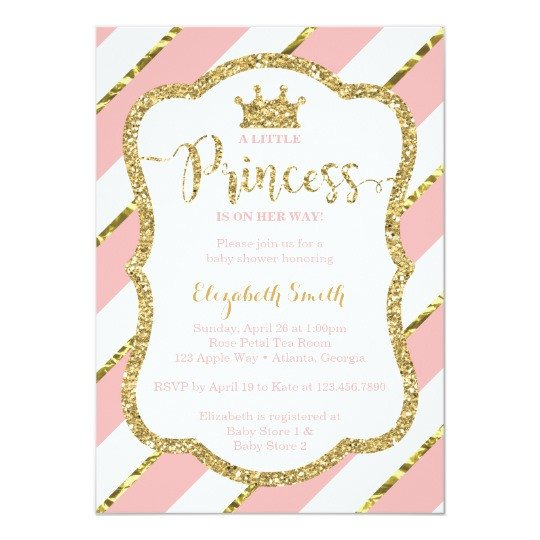 Princess Baby Shower Invitations Templates Little Princess Baby Shower Invite Faux Glitter Card