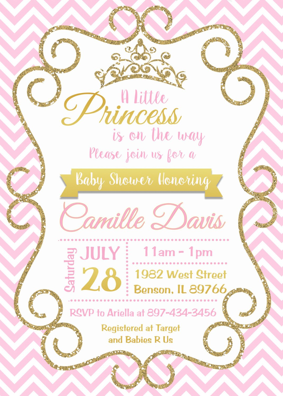Princess Baby Shower Invitations Templates Pink and Gold Princess Baby Shower Invitation Sparkle