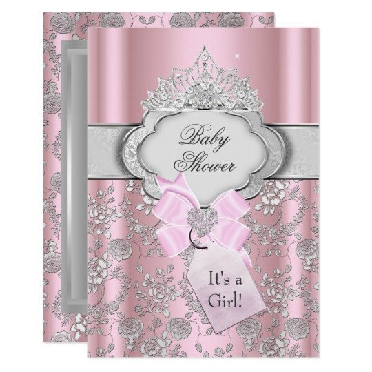 Princess Baby Shower Invitations Templates Pretty Bow Tiara Princess Baby Shower Invitation