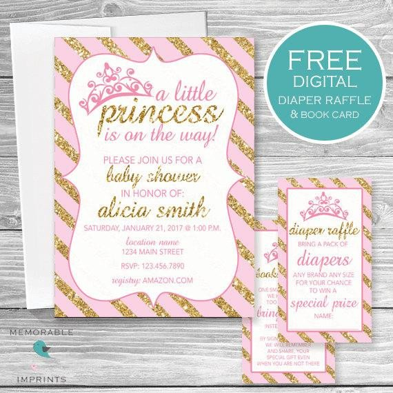 Princess Baby Shower Invitations Templates Princess Baby Shower Invitation Pink and Gold Princess Baby