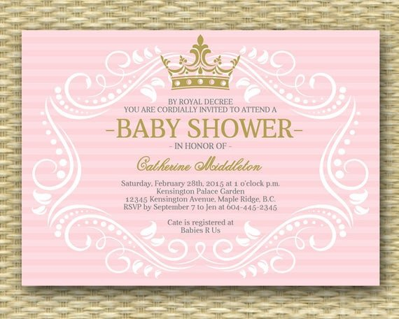Princess Baby Shower Invitations Templates Royal Princess Baby Shower Invitation Little Princess Baby