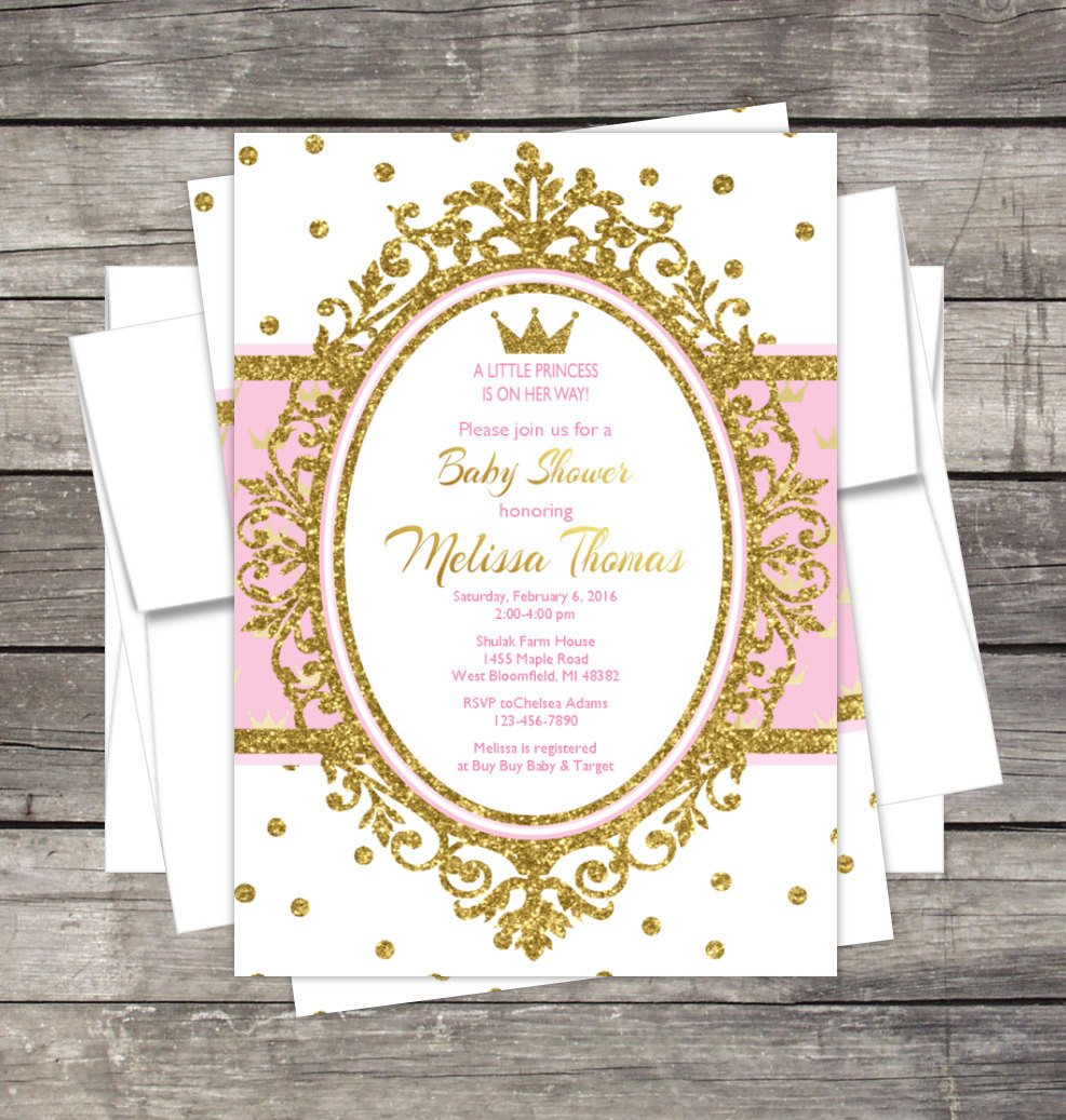 Princess Baby Shower Invitations Templates Royal Princess Baby Shower Invitation Pink or Lavender Gold