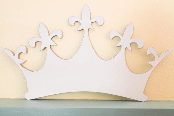 Princess Crown Cut Out Metal Distressed White Queen Princess Crown by