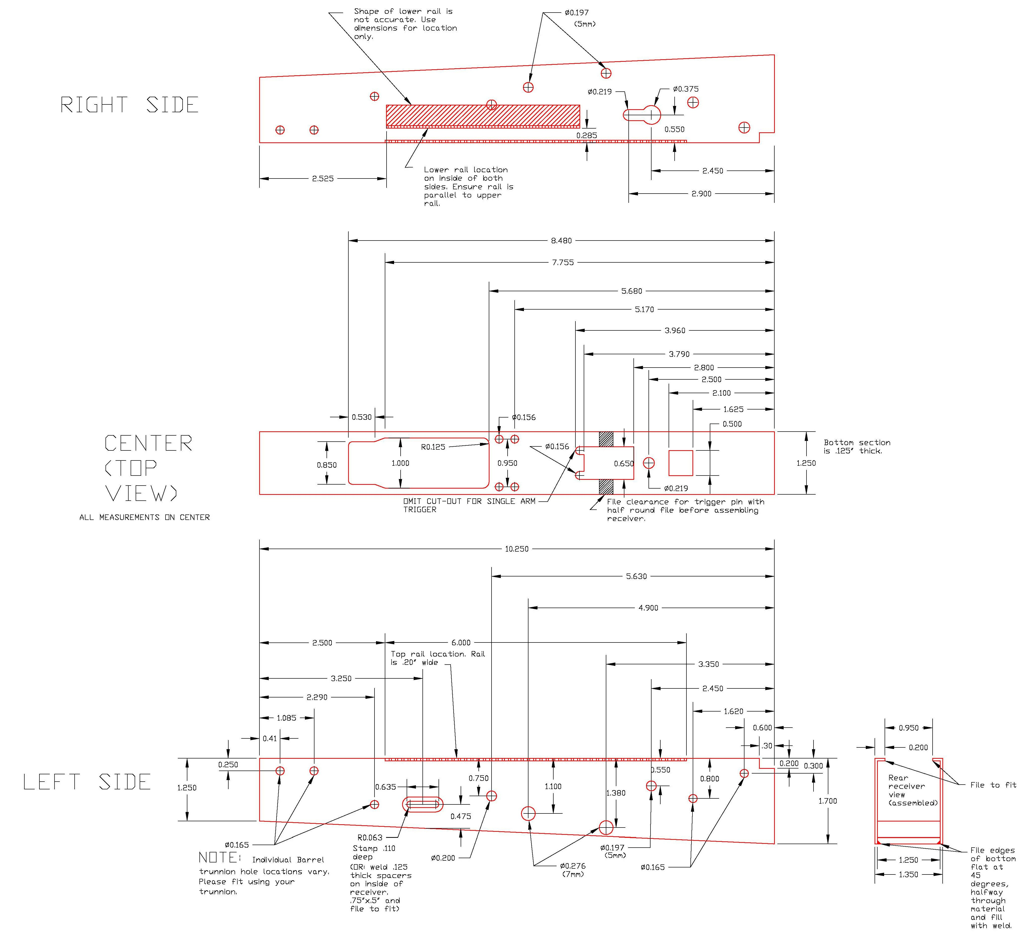 Printable Ak 47 Receiver Template Need Polish Akm47 Blueprints Drilling Locations for Reciever