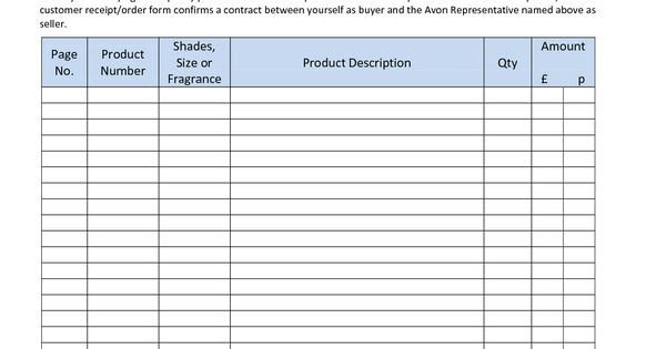Printable Avon order forms Avon order form 2010 I Like This order form Make Sure to