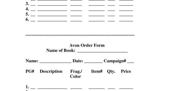 Printable Avon order forms Avon order form[print This] by Avonladymellisa