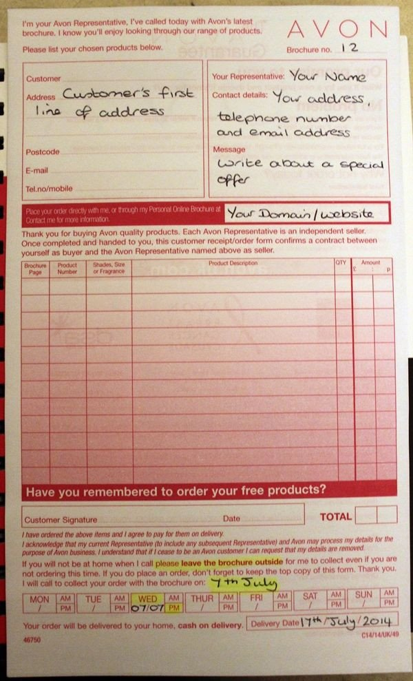 Printable Avon order forms How to Use Your Avon Customer order forms