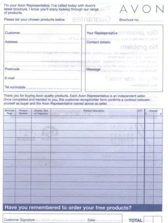 Printable Avon order forms Maria S Avon Place order