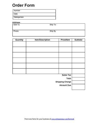 Printable Avon order forms Sales order form order form