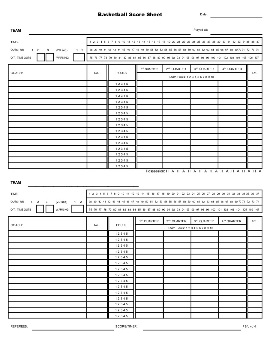 Printable Basketball Score Sheet 2018 Miscellaneous forms Fillable Printable Pdf & forms