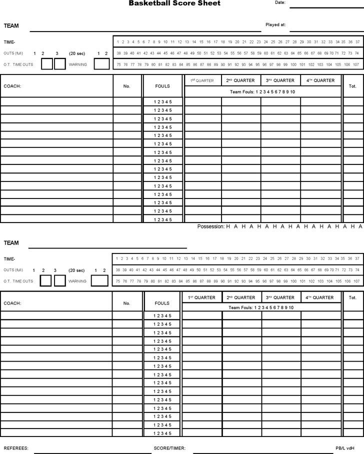 Printable Basketball Score Sheet 5 Basketball Score Sheet Templates Word Excel Templates