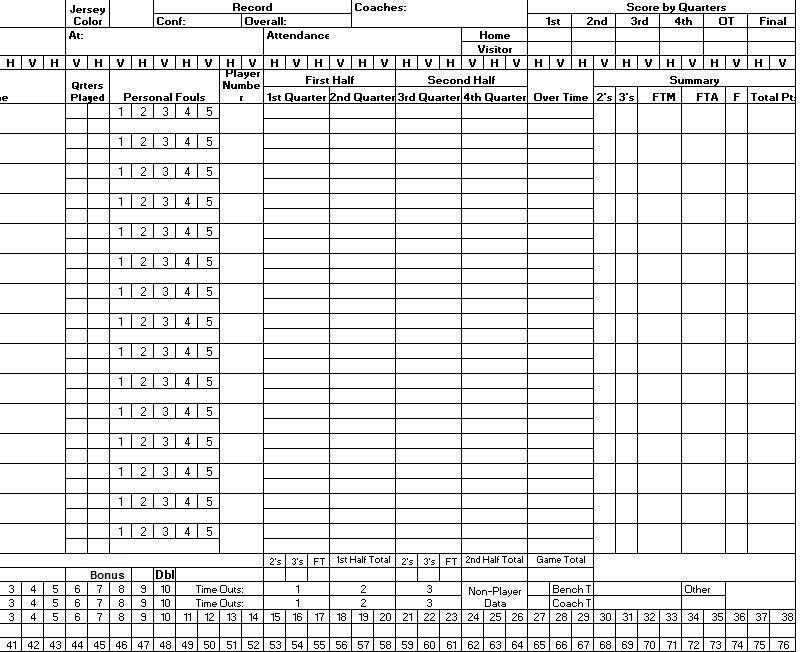 Printable Basketball Score Sheet 8 Free Sample Basketball Score Sheet Samples Printable