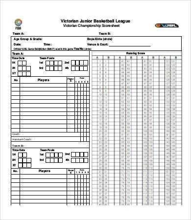 Printable Basketball Score Sheet Basketball Score Sheet 10 Free Pdf Documents Download