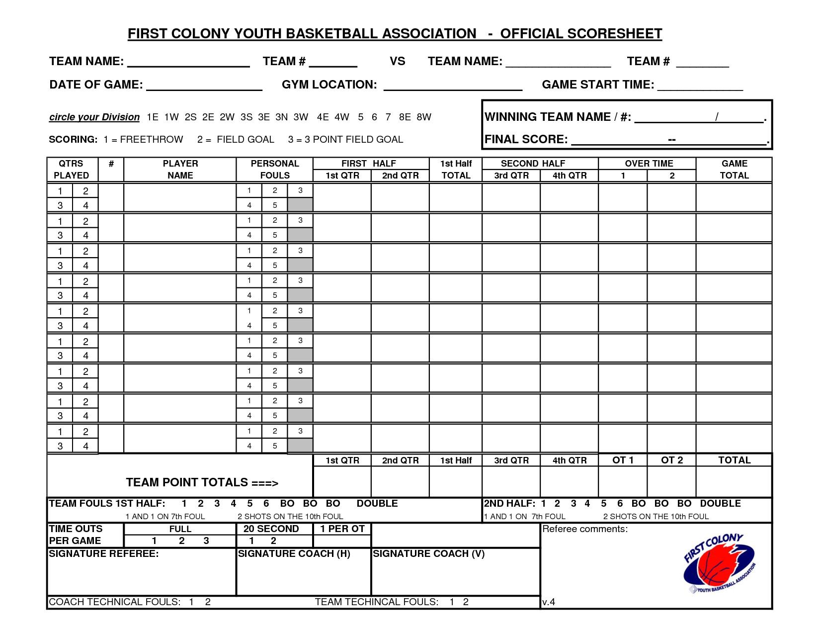 Printable Basketball Score Sheet Youth Basketball Score Sheet Pdf