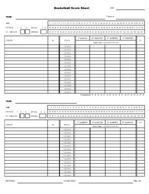 Printable Basketball Stat Sheet Basketball Score Sheet 2018