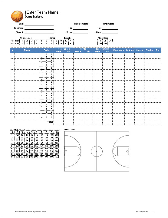 Printable Basketball Stat Sheet Basketball Team Roster Template for Excel