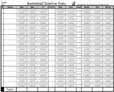 Printable Basketball Stat Sheet Team Individual Basketball Shot Chart Bo