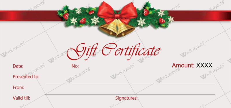 Printable Christmas Gift Certificates Christmas Gift Certificate Templates for Word Editable