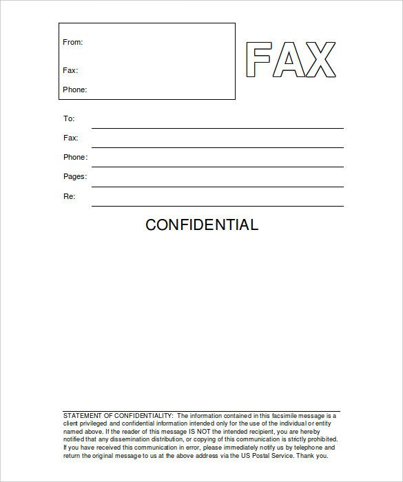Printable Confidential Cover Sheet 12 Free Fax Cover Sheet Templates – Free Sample Example
