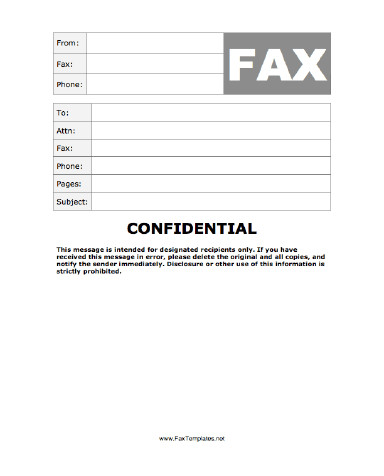 Printable Confidential Cover Sheet Confidential Fax Template