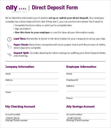 Printable Direct Deposit form Direct Deposit form Template 9 Free Pdf Documents