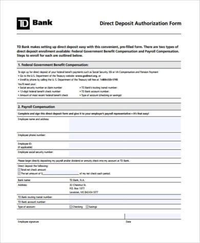 Printable Direct Deposit form Printable Direct Deposit form Samples 8 Free Documents