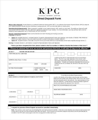 Printable Direct Deposit form Sample Generic Direct Deposit forms 8 Free Documents In Pdf