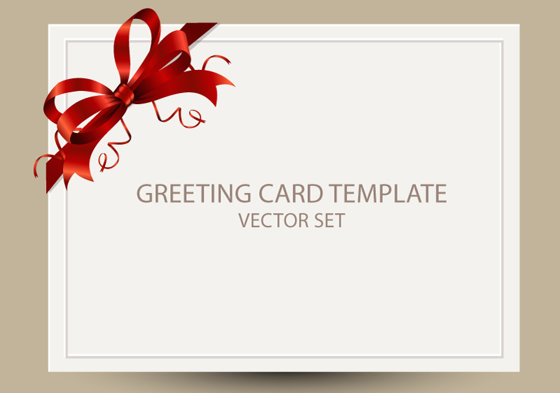 Printable Greetings Cards Templates Freebie Greeting Card Templates with Red Bow – Ai Eps