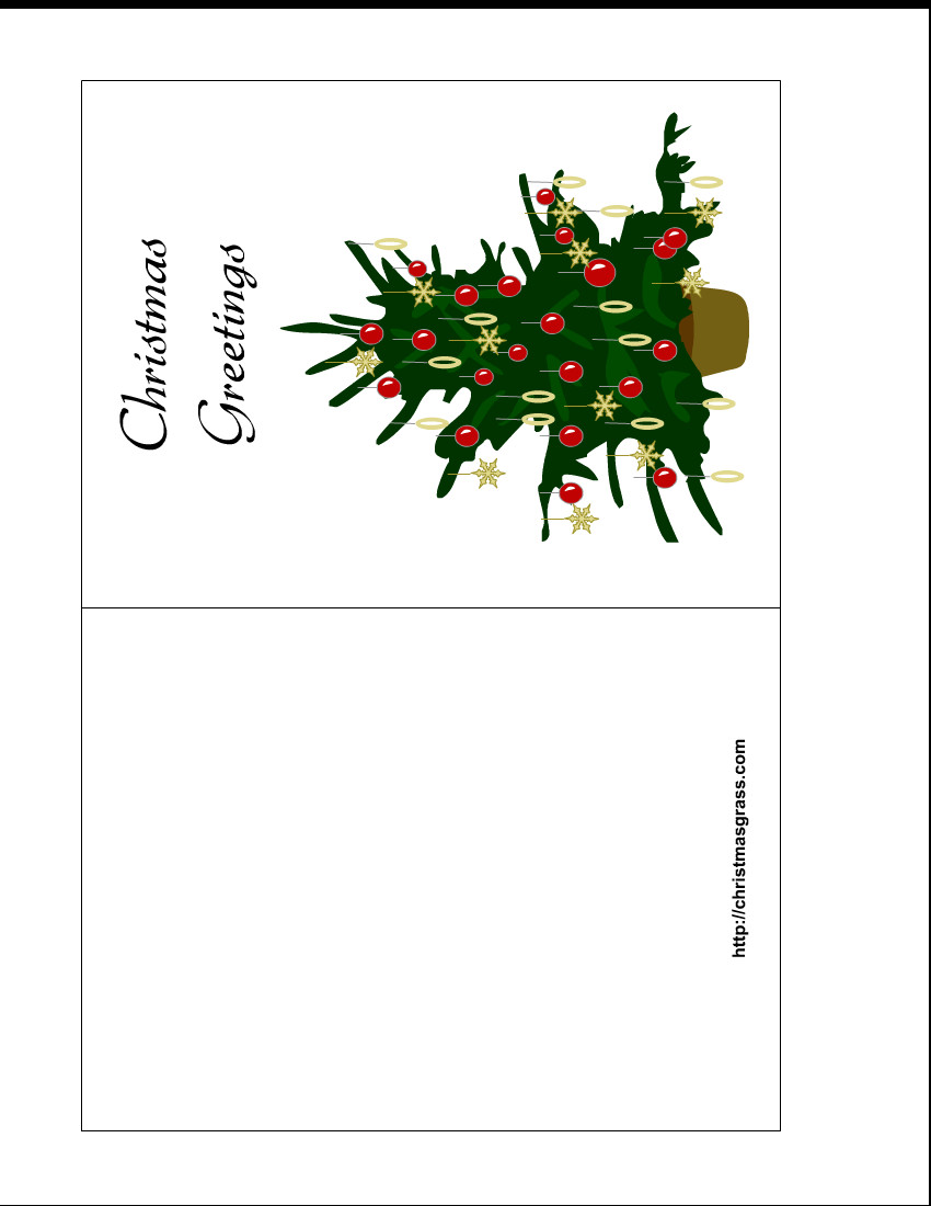 Printable Greetings Cards Templates Holiday Greeting Card with Christmas Tree
