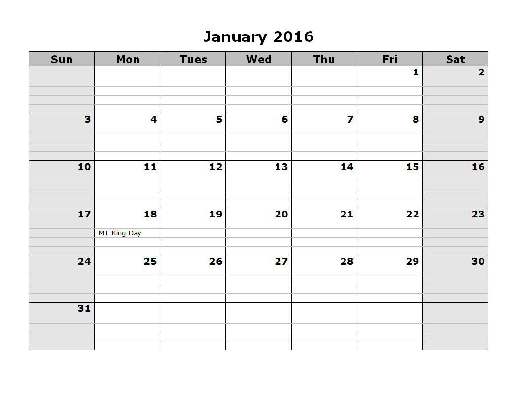 Printable Monthly Calendar Template 2016 Monthly Calendar Template 08 Free Printable Templates