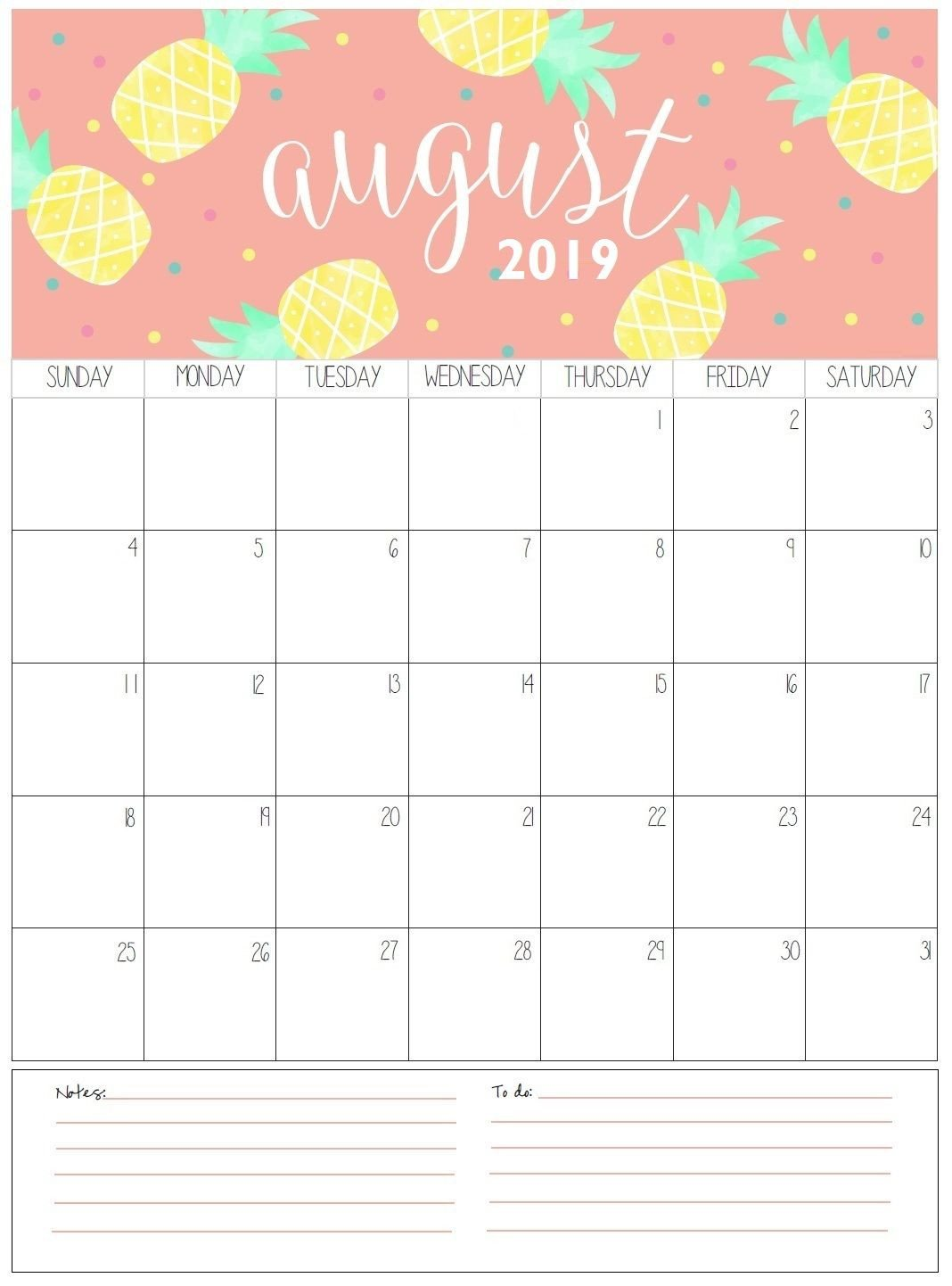 Printable Monthly Calendar Template August Monthly Calendar 2019 organization