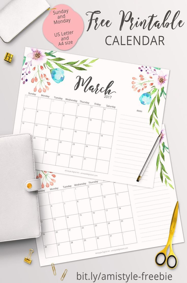 Printable Monthly Calendar Template Free Printable Planner 2017 March Calendar with